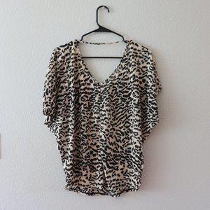 Express Leopard Print Cutout Blouse